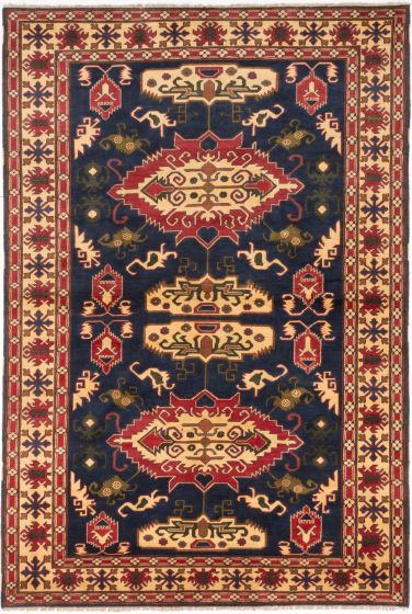 Traditional Blue Area rug 6x9 Afghan Hand-knotted 203195