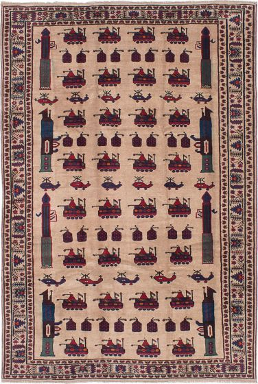 Novelty  Traditional Ivory Area rug 6x9 Afghan Hand-knotted 215529