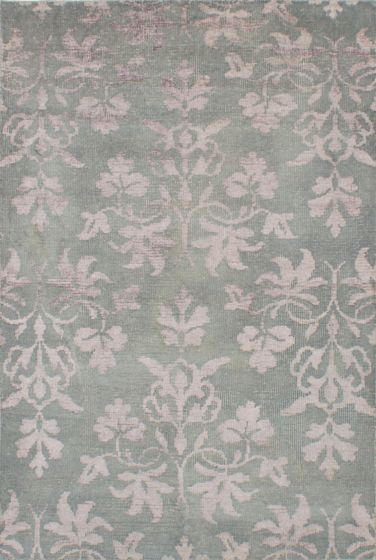 Transitional Green Area rug 5x8 Indian Hand-knotted 221959