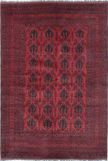 Traditional Red Area rug 6x9 Afghan Hand-knotted 222518