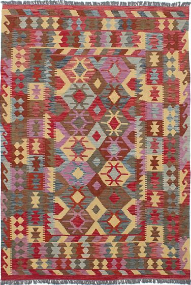 Traditional Red Area rug 5x8 Turkish Flat-weave 227828
