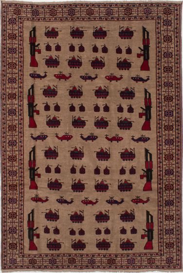 Bordered  Tribal Brown Area rug 6x9 Afghan Hand-knotted 278381