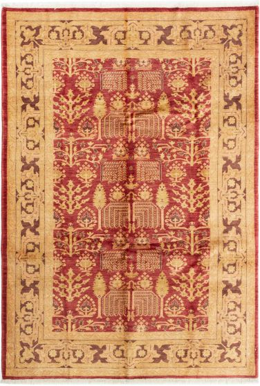 Bordered  Traditional Red Area rug 5x8 Afghan Hand-knotted 280387