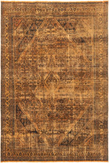 Bordered  Transitional Brown Area rug 6x9 Turkish Hand-knotted 280470