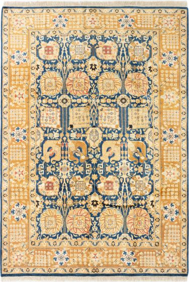 Bordered  Traditional Blue Area rug 5x8 Pakistani Hand-knotted 280585