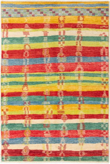 Casual  Transitional Red Area rug 5x8 Indian Hand-knotted 280649