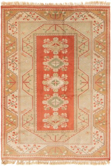 Bordered  Vintage Brown Area rug 5x8 Turkish Hand-knotted 304434