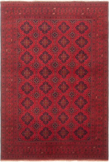 Bordered  Tribal Red Area rug 6x9 Afghan Hand-knotted 305679