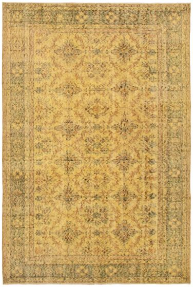 Bordered  Transitional Yellow Area rug 5x8 Turkish Hand-knotted 328513
