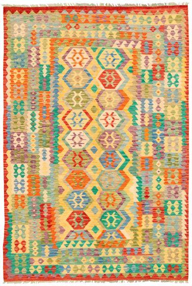 Bordered  Geometric Multi Area rug 6x9 Turkish Flat-weave 329862