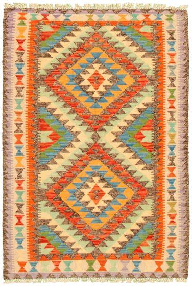 Bordered  Geometric Multi Area rug 3x5 Turkish Flat-weave 330240