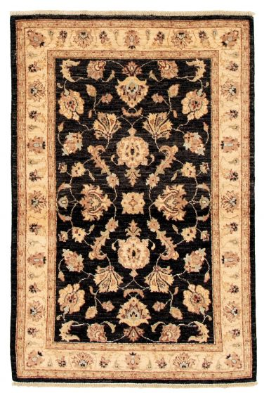 Bordered  Traditional Black Area rug 3x5 Afghan Hand-knotted 331604