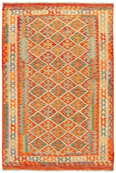 Bohemian  Geometric Brown Area rug 5x8 Turkish Flat-weave 336774