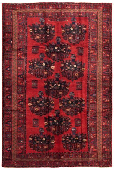 Bordered  Tribal Red Area rug 6x9 Afghan Hand-knotted 342754