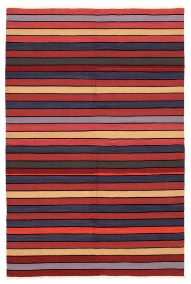 Bohemian  Stripes Red Area rug 5x8 Turkish Flat-weave 346177