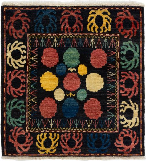 Casual  Transitional Black Area rug Square Indian Hand-knotted 280014