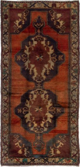 Bordered  Vintage Brown Runner rug 11-ft-runner Turkish Hand-knotted 279880