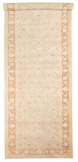 Bordered  Traditional Ivory Runner rug 20-ft-runner Turkish Hand-knotted 308856