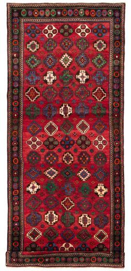 Bordered  Tribal Red Runner rug 13-ft-runner Persian Hand-knotted 358561