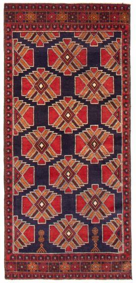 Geometric  Tribal Blue Runner rug 6-ft-runner Afghan Hand-knotted 367531