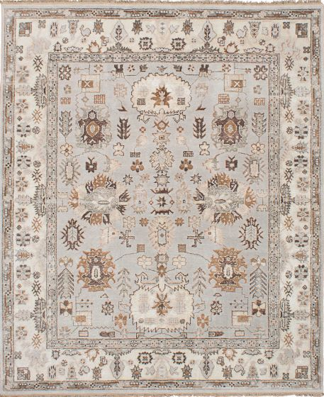Traditional Grey Area rug 6x9 Indian Hand-knotted 222705