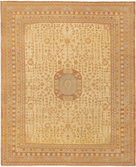 Bordered  Traditional Ivory Area rug 6x9 Turkish Hand-knotted 280783