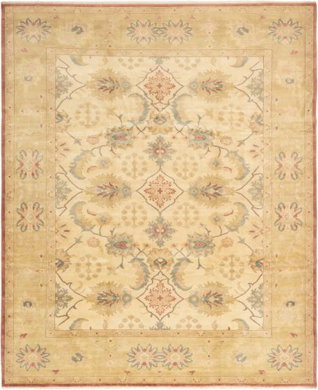 Bordered  Transitional Ivory Area rug 8x10 Turkish Hand-knotted 280831