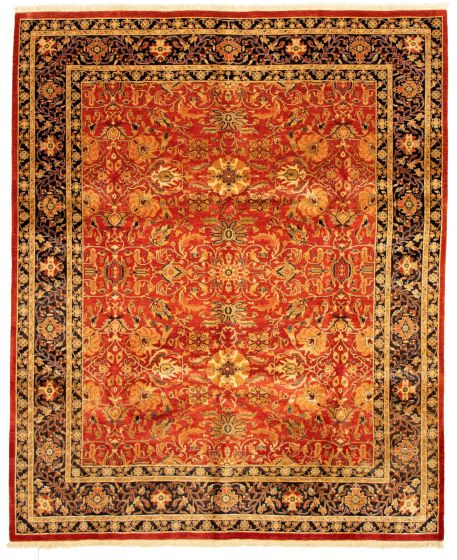 Bordered  Traditional Brown Area rug 6x9 Pakistani Hand-knotted 331283