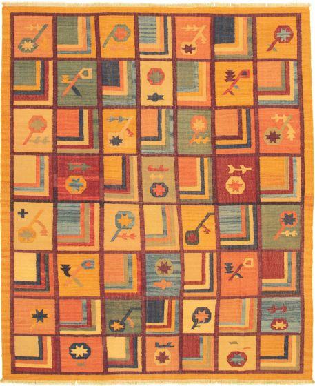 Casual  Transitional Orange Area rug 6x9 Turkish Flat-weave 336035
