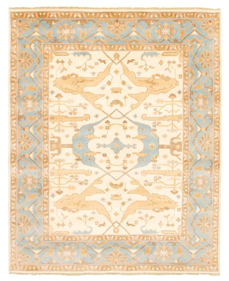 Bordered  Traditional Ivory Area rug 6x9 Indian Hand-knotted 344892