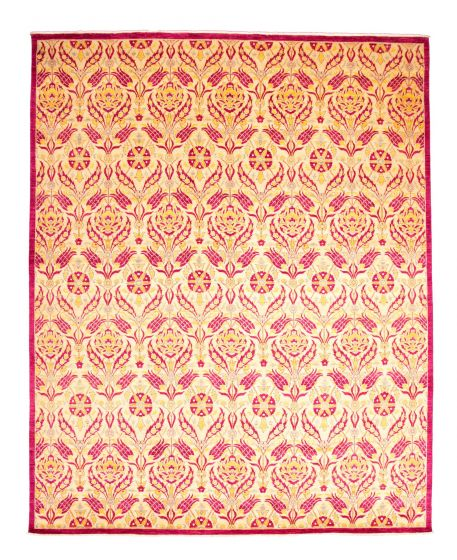 Casual  Transitional Pink Area rug 12x15 Pakistani Hand-knotted 345153