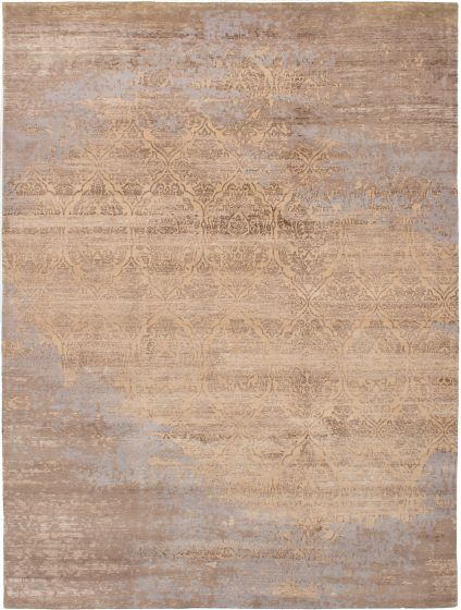 Casual  Contemporary Brown Area rug 9x12 Indian Hand-knotted 272229