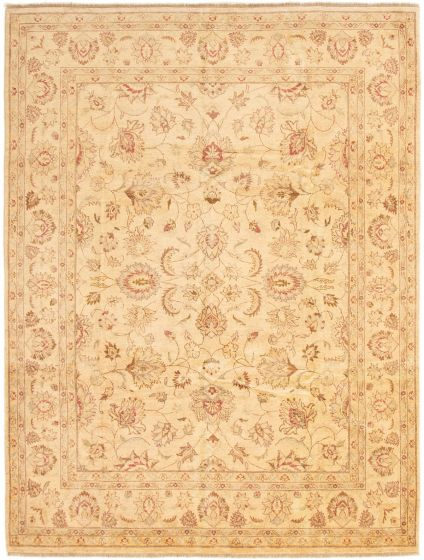 Bordered  Traditional Ivory Area rug 6x9 Afghan Hand-knotted 292876