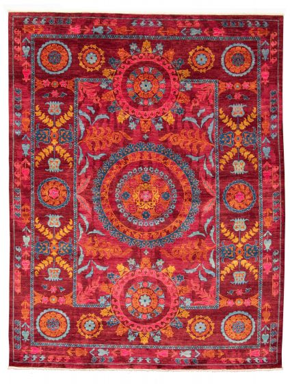 Bordered  Transitional Red Area rug 9x12 Pakistani Hand-knotted 311025