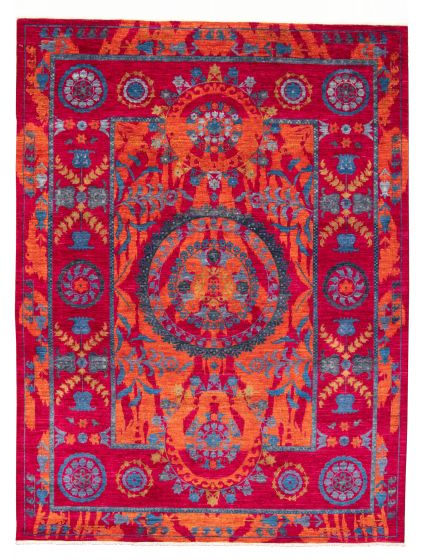 Bordered  Transitional Red Area rug 9x12 Pakistani Hand-knotted 311151