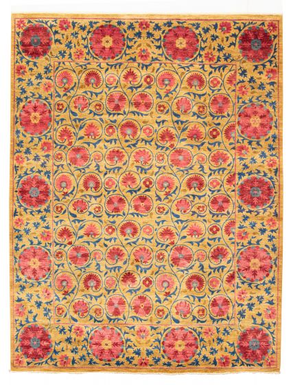 Floral  Transitional Brown Area rug 6x9 Pakistani Hand-knotted 311186