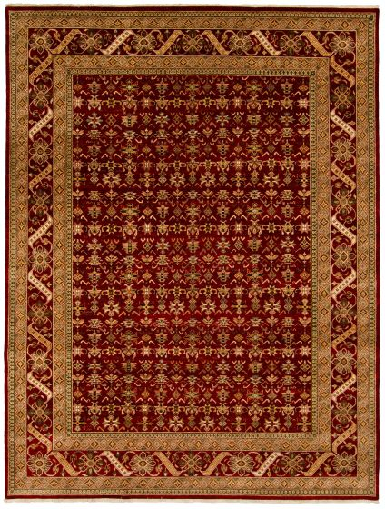 Traditional Red Area rug 9x12 Indian Hand-knotted 313516