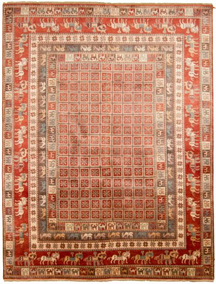 Tribal Red Area rug 9x12 Indian Hand-knotted 313636