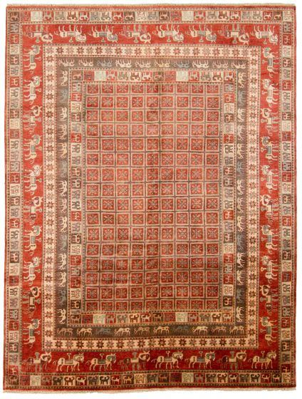 Tribal Red Area rug 9x12 Indian Hand-knotted 315892