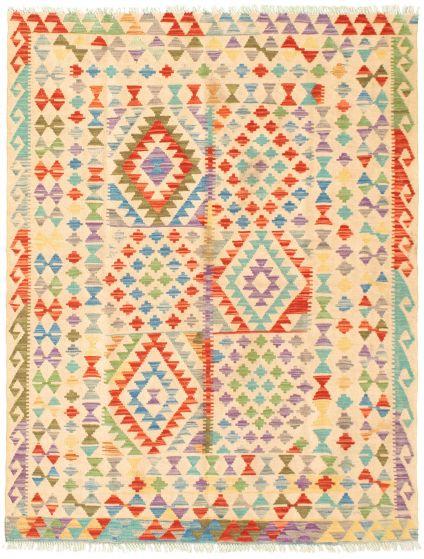 Bordered  Geometric Ivory Area rug 4x6 Turkish Flat-weave 330050