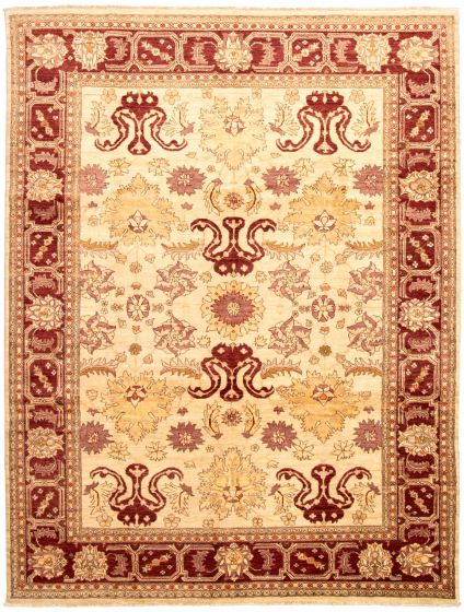 Bordered  Traditional Ivory Area rug 9x12 Afghan Hand-knotted 330614