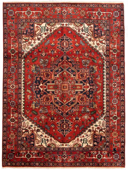 Bordered  Traditional Red Area rug 9x12 Indian Hand-knotted 331270