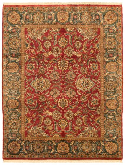 Bordered  Traditional Red Area rug 6x9 Indian Hand-knotted 335508