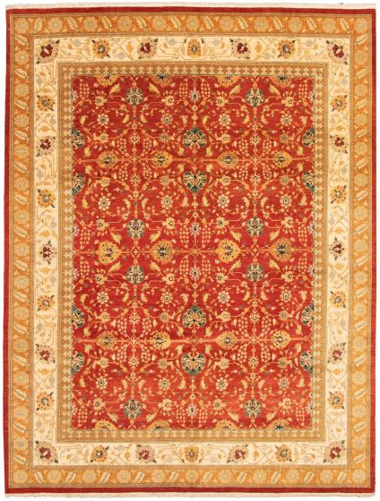 Bordered  Traditional Red Area rug 9x12 Pakistani Hand-knotted 337610