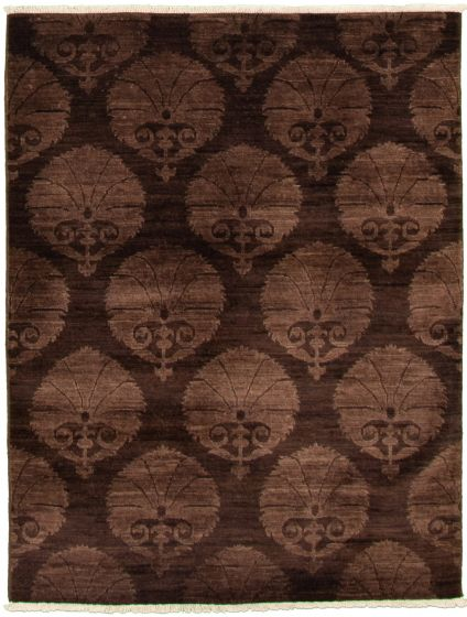 Casual  Transitional Brown Area rug 3x5 Pakistani Hand-knotted 338984