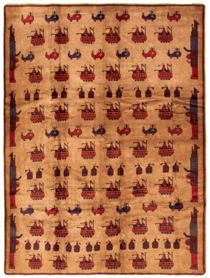 Novelty  Tribal Brown Area rug 6x9 Afghan Hand-knotted 342396