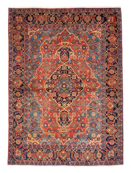 Bordered  Traditional Red Area rug 5x8 Persian Hand-knotted 358665