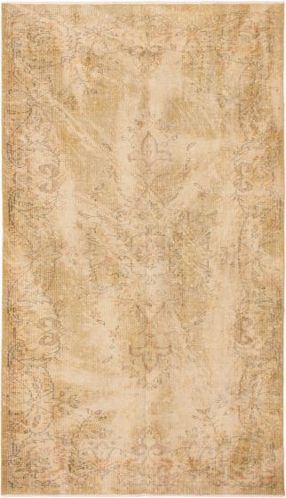 Bordered  Vintage Brown Area rug 5x8 Turkish Hand-knotted 295912
