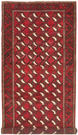 Bordered  Tribal Red Area rug Unique Russia Hand-knotted 319514