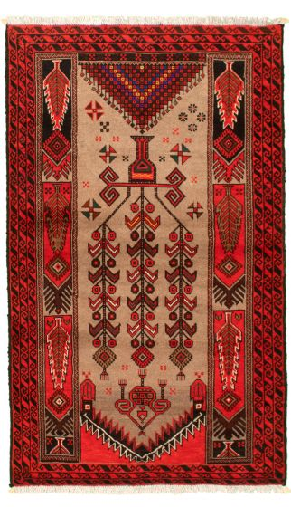 Bordered  Tribal Red Area rug 3x5 Afghan Hand-knotted 334700
